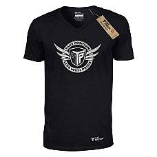 T-SHIRT V NECK ΑΝΔΡΙΚΟ, TAKEPOSITION, SILVER LOGO WING, ΜΑΥΡΟ, 308-0003-2