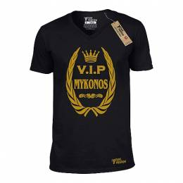 T-SHIRT V NECK ΑΝΔΡΙΚΟ, TAKEPOSITION, GOLD MYKONOS VIP, ΜΑΥΡΟ, 308-3004