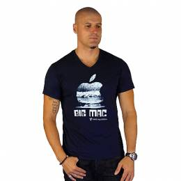 T-SHIRT V NECK ΑΝΔΡΙΚΟ, TAKEPOSITION, BIG MAC, ΜΠΛΕ NAVY, 308-4001