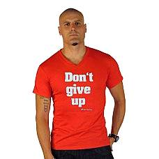 T-SHIRT V NECK ΑΝΔΡΙΚΟ, TAKEPOSITION, DONT GIVE UP, ΚΟΚΚΙΝΟ, 308-5003