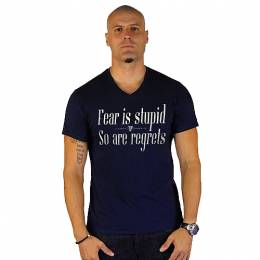 T-SHIRT V NECK ΑΝΔΡΙΚΟ, TAKEPOSITION, FEAR IS STUPID, ΜΠΛΕ NAVY, 308-5004