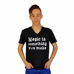 T-SHIRT V NECK ΑΝΔΡΙΚΟ, TAKEPOSITION, MAGIC YOU MAKE, ΜΑΥΡΟ, 308-5007