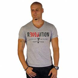 T-SHIRT V NECK ΑΝΔΡΙΚΟ, TAKEPOSITION, REVOLUTION, ΓΚΡΙ, 308-5008