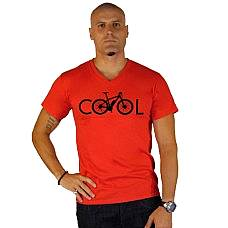 T-SHIRT V NECK ΑΝΔΡΙΚΟ, TAKEPOSITION, COOL BIKE, ΚΟΚΚΙΝΟ, 308-5500