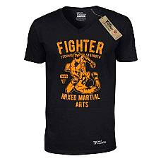 T-SHIRT V NECK ΑΝΔΡΙΚΟ, TAKEPOSITION, MMA FIGHTER, ΜΑΥΡΟ, 308-5511