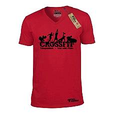 T-SHIRT V NECK ΑΝΔΡΙΚΟ, TAKEPOSITION, CROSSFIT ARCADE, ΚΟΚΚΙΝΟ, 308-5523