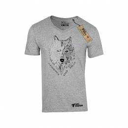 T-SHIRT V NECK ΑΝΔΡΙΚΟ, TAKEPOSITION, INFREQUENT WOLF, ΓΚΡΙ, 308-6003