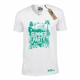 T-SHIRT V NECK ΑΝΔΡΙΚΟ, TAKEPOSITION, SUMMER PARTY, ΛΕΥΚΟ, 308-6501
