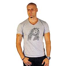 T-SHIRT V NECK ΑΝΔΡΙΚΟ, TAKEPOSITION, BOB MARLEY, ΓΚΡΙ, 308-7000