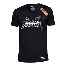 T-SHIRT V NECK ΑΝΔΡΙΚΟ, TAKEPOSITION, METALLICA, ΜΑΥΡΟ, 308-7501