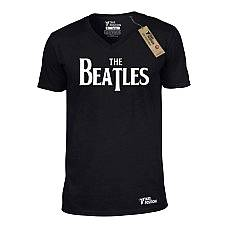 T-SHIRT V NECK ΑΝΔΡΙΚΟ, TAKEPOSITION, THE BEATLES, ΜΑΥΡΟ, 308-7509