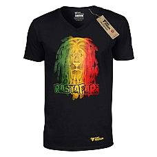 T-SHIRT V NECK ΑΝΔΡΙΚΟ, TAKEPOSITION, RASTAFARI LION, ΜΑΥΡΟ, 308-7514