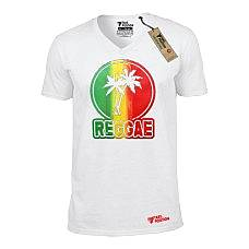 T-SHIRT V NECK ΑΝΔΡΙΚΟ, TAKEPOSITION, REGGAE, ΛΕΥΚΟ, 308-7515