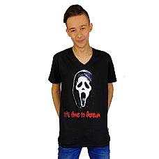 T-SHIRT V NECK ΑΝΔΡΙΚΟ, TAKEPOSITION, ITS TIME TO SCREAM , ΜΑΥΡΟ, 308-8002