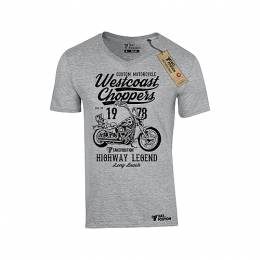 T-SHIRT V NECK ΑΝΔΡΙΚΟ, TAKEPOSITION, WESTCOAST CHOPPERS, ΓΚΡΙ, 308-9005