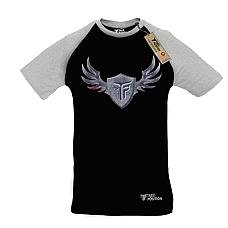 T-SHIRT REGLAN ΑΝΔΡΙΚΟ, TAKEPOSITION, SILVER WINGS, ΜΑΥΡΟ/ΓΚΡΙ, 322-0017