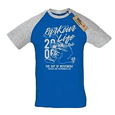 T-SHIRT REGLAN ΑΝΔΡΙΚΟ, TAKEPOSITION, PARKOUR, ΜΠΛΕ/ ΓΚΡΙ, 323-5514