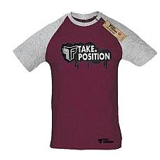 T-SHIRT REGLAN ΑΝΔΡΙΚΟ, TAKEPOSITION, LOGO GRAFFITY, ΒΥΣΣΙΝΙ/ΓΚΡΙ, 324-0002