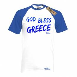 T-SHIRT REGLAN ΑΝΔΡΙΚΟ, TAKEPOSITION, GOT BLESS GREECE, ΛΕΥΚΟ/ΜΠΛΕ, 326-5014