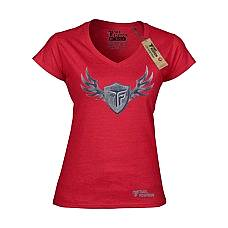 T-SHIRT V NECK ΓΥΝΑΙΚΕΙΟ, TAKEPOSITION, STEEL WINGS, ΚΟΚΚΙΝΟ, 502-0017