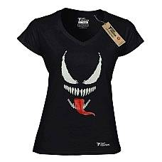 T-SHIRT V NECK ΓΥΝΑΙΚΕΙΟ, TAKEPOSITION, BLACK SPIDER, ΜΑΥΡΟ, 502-1004