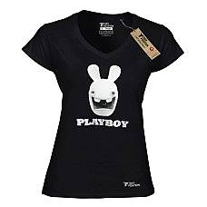 T-SHIRT V NECK ΓΥΝΑΙΚΕΙΟ, TAKEPOSITION, PLAY RABBIT, ΜΑΥΡΟ, 502-1505