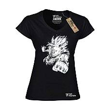 T-SHIRT V NECK ΓΥΝΑΙΚΕΙΟ, TAKEPOSITION, GOKU, ΜΑΥΡΟ, 502-1508