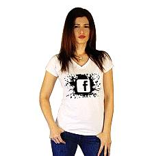 T-SHIRT V NECK ΓΥΝΑΙΚΕΙΟ, TAKEPOSITION, SPLASH FB, ΛΕΥΚΟ, 502-4500