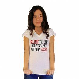 T-SHIRT V NECK ΓΥΝΑΙΚΕΙΟ, TAKEPOSITION, BELIEVE YOU CAN, ΛΕΥΚΟ, 502-5009