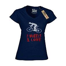 T-SHIRT V NECK ΓΥΝΑΙΚΕΙΟ, TAKEPOSITION, BIKE LOVE, ΜΠΛΕ NAVY, 502-5501
