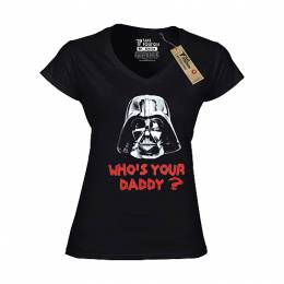 T-SHIRT V NECK ΓΥΝΑΙΚΕΙΟ, TAKEPOSITION, WHO'S YOUR DADDY, ΜΑΥΡΟ, 502-7007