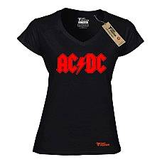 T-SHIRT V NECK ΓΥΝΑΙΚΕΙΟ, TAKEPOSITION, ACDC, ΜΑΥΡΟ, 502-7500