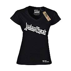T-SHIRT V NECK ΓΥΝΑΙΚΕΙΟ, TAKEPOSITION, JUDAS PRIEST, ΜΑΥΡΟ, 502-7512