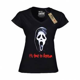 T-SHIRT V NECK ΓΥΝΑΙΚΕΙΟ, TAKEPOSITION, IT'S TIME TO SCREAM, ΜΑΥΡΟ, 502-8002