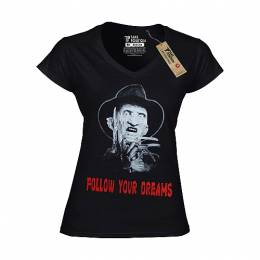T-SHIRT V NECK ΓΥΝΑΙΚΕΙΟ, TAKEPOSITION, FOLLOW YOUR DREAMS, ΜΑΥΡΟ, 502-8005