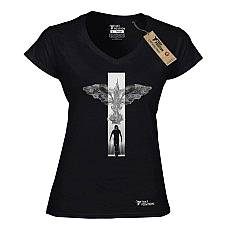 T-SHIRT V NECK ΓΥΝΑΙΚΕΙΟ, TAKEPOSITION, CROW COMEBACK, ΜΑΥΡΟ, 502-8506