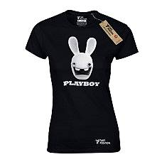 T-SHIRT ΓΥΝΑΙΚΕΙΟ, TAKEPOSITION, PLAY RABBIT, ΜΑΥΡΟ, 504-1505